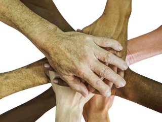 Guest motivational sports speakers joining hands